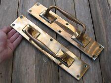 """Old Pair of Large Bronze / Brass Door Handle Pulls / Shop / Bar / Pub 12.5"""""""