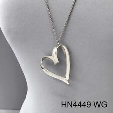Matte Silver Finished Long Chain Simple Metal Heart Design Pendant Necklace
