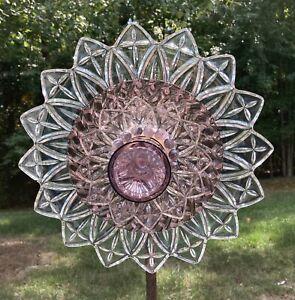 Amethyst & Clear Petal Glass Garden Flower Repurposed Suncatcher Yard Art