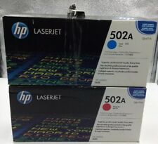 (2) Genuine HP (502A) Toner Cartridge Q6471A/ Q6473A Laserjet 3600 Cyan & Magent