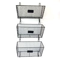 3 Tier Bin Shelf Kitchen Wall Mount Rack Fruit Basket Holder Storage Metal Wire