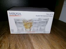 MIKASA Set Of 4 Double Old Fashioned  Glasses, Carroll Gate Pattern Crystal