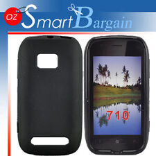 New BLACK Soft Gel TPU Cover Case For NOKIA Lumia 710 + Screen Protector