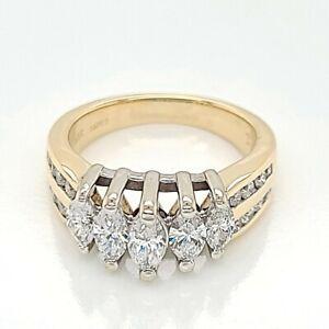 1.00ct Marquise Cut Diamond Anniversary Band Ring 14K Yellow Gold (50005180)