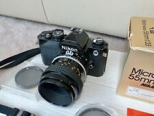 NIKON FM analoge Spiegelreflexkamera, Black mit Nikon Micro-Nikkor 55 mm. 1:3.5