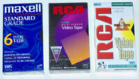 LOT OF 3 - NEW SEALED BLANK VHS VIDEO TAPEs MAXELL T-120 HI FI RCA T120 T120H