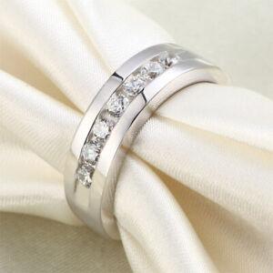 6 mm Round Cut Men's Half Eternity Ring Diamond Wedding Band 14K White Gold Over