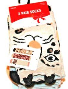 Christmas Holiday Stocking Stuffer 3 Pack Leopard Women's Socks Size 4-10