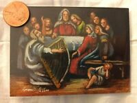 ACEO original oil painting Jesus Christ last supper Bible saints historical holy
