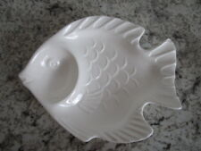 """JAPAN fish sushi small plate with sauce holder 8"""" long"""
