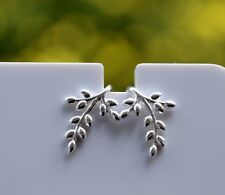 Sterling Silver 925 Olive Branch with Leaves Drop Earrings