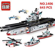 8 set 643 pcs Kids Building Toys Blocks 8in1 Aircraft Carrier ENLIGHTEN 1406