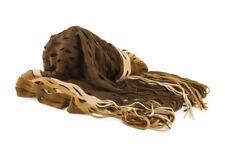 Sciarpa grande di maglia con frange scialle 4 Passi made in Italy beige marrone