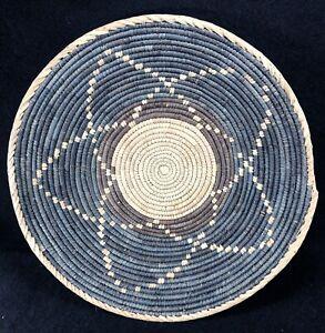 "VTG Coiled Star Pattern Basket Blue Taupe Tan Rattan 14.5"" Farmhouse BOHO Decor"