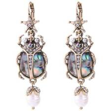 New Betsey Johnson Retro alloy star Insect skull pearl earrings rare jewelry M