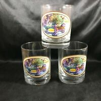 Vintage Glass Tumbler Lot of 3 Mallard Ducks Signed NORMAN R WAMER