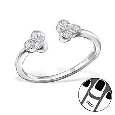 TJS 925 Sterling Silver Midi Ring Clear CZ Flower Size 3.5 Adjustable Jewellery