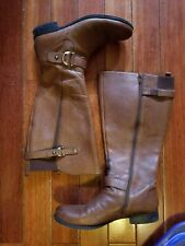 Naturalizer Jersey Brown Leather Wide Calf Trendy Boots 8.5