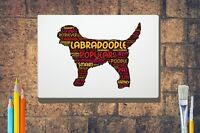Labradoodle Dog Word Art Canvas A4 A3 A2A1 Mothers Day Gift Personalised Option