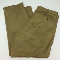 LL Bean Pants Mens 44X32 Khaki Tan Straight Leg Pleated Front Natural Fit Casual