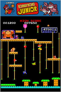 Donkey Kong Jr Authentic Arcade Marquee 24x36 Nintendo Video Game Giclee Poster