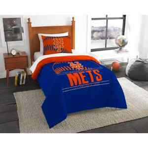 Comforter Set Twin Size New York Mets Themed Machine Wash Polyester (2-Piece)