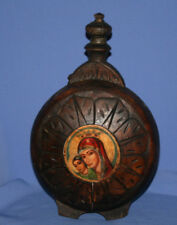 Vintage Carving Wood Pitcher With Hand Painted Image Of Virgin Mary & Christ