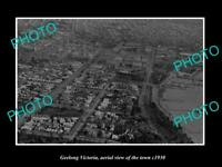 OLD LARGE HISTORIC PHOTO GEELONG VICTORIA AERIAL VIEW OF THE CITY c1930 1