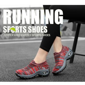 Women's Breathable Mesh Sport Air Cushion Sneakers Walking Slip-On Running Shoes