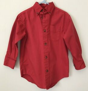 Boys Red Button Front Oxford Dress Shirt Collared Class club Cotton Size 4
