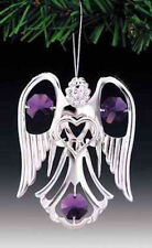 """SWAROVSKI CRYSTAL ELEMENTS """"Angel with Heart"""" FIGURINE - ORNAMENT SILVE PLATED"""