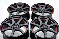 """4 New DDR ZK15 15x6.5 4x100/114.3 35mm Matt Black Red Undercut 15"""" Wheels Rims"""
