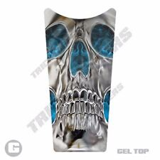 Gel Top Gas Tank Dash Console Insert for 87-07 Harley Touring SKULL BLUE FLAME I