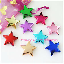 8Pcs Mixed Plastic Acrylic Smooth Star Spacer Beads Charms 22mm