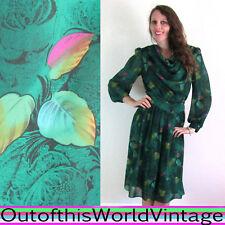 Vtg 70s Green DRAPED POISON OAK DRESS rainbow multicolor FALL LEAVES EARTHY S M