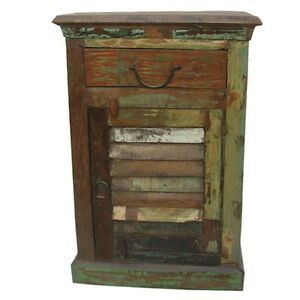 """Set of 2 20"""" W Ella Nightstand one door one drawer distressed paint green finish"""