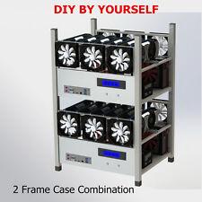 6 GPU 6 Fans Open Air Mining Case Computer ETH Miner Frame Rig Temp Monitor