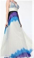 NWT Blue White Watercolor Embellished Prom Pageant Evening Dress Ball Gown 4
