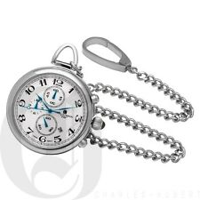Stainless Steel Polished Finish Open Face Quartz Pocket Watch 3571
