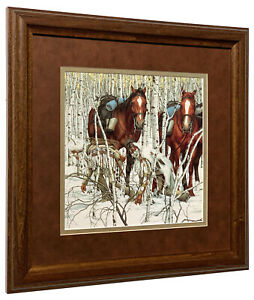 Bev Doolittle Two Indian Horses Detail Matted & Framed Open Edition Art Print
