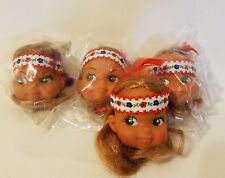 "Lot of 4 Craft 2"" Vinyl Doll Heads Red Hair Redhead Indian Native American Girl"