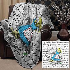 "Alice In Wonderland Fleece Blanket Throw Burst of Colour Cards Design 58"" x 58"""