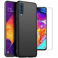 For Samsung Galaxy A70 Case Slim Hard Back Cover & Glass Screen Protector
