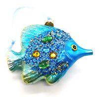 A147 Glass Blue Beaded Fish Christmas Tree Ornament Decoration