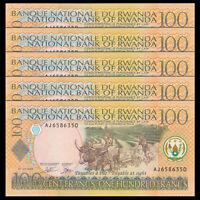 Lot 5 PCS, Rwanda 100 Francs, 2003, P-29b, UNC