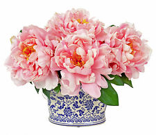 FLOWER ARRANGEMENTS - PINK PEONY SILK FLORAL BOUQUET IN CHINOISERIE PLANTER