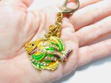 Yellow Brown Green Enamel Rhinestone Fish Purse Charm Key Chain