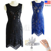 1920's Flapper Great Gatsby Dress Deco Sequin Dresses Vintage Cocktail Prom Gown