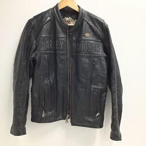 Harley Davidson Black Leather Jacket with Embossed Logo #655