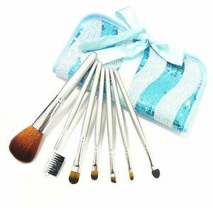 7tlg. Make up Pinsel Brush Schminkpinsel Kosmetik Rouge Lidschatten mit Tasche